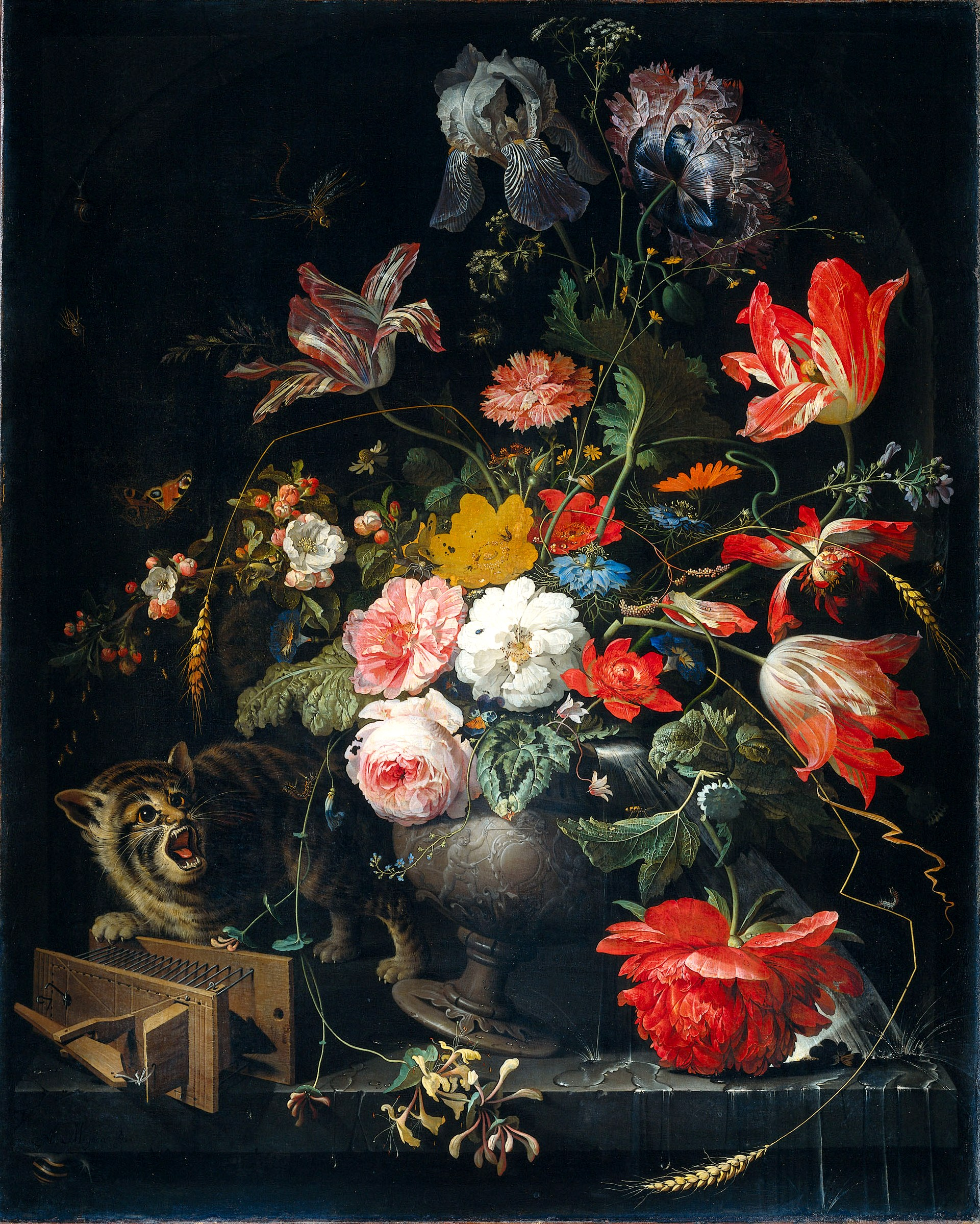 Bouquet with cat and mousetrap