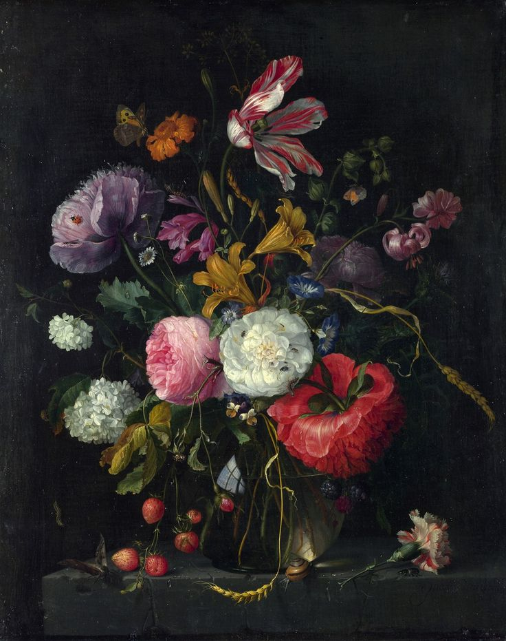 Flowers in a glass vase, Jacob van Walscapelle