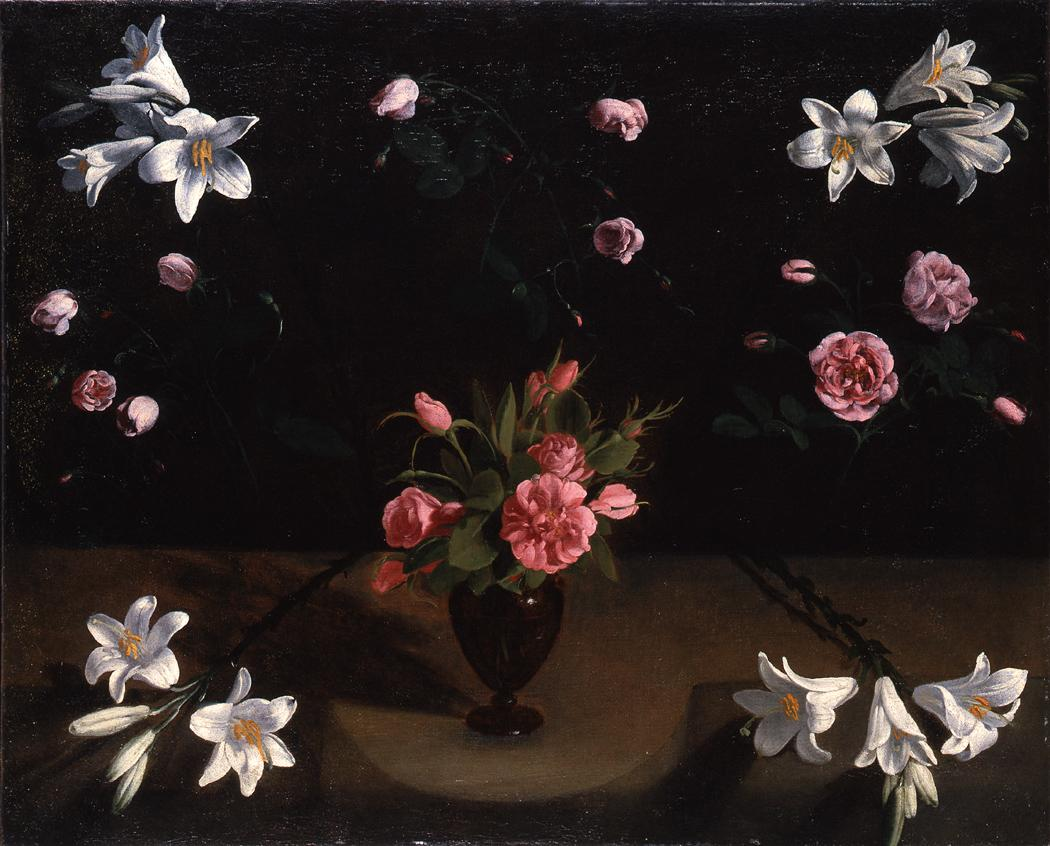 Master of the Veneration of Maria 1625 - Lilies and thornless Roses in a Glass Vase